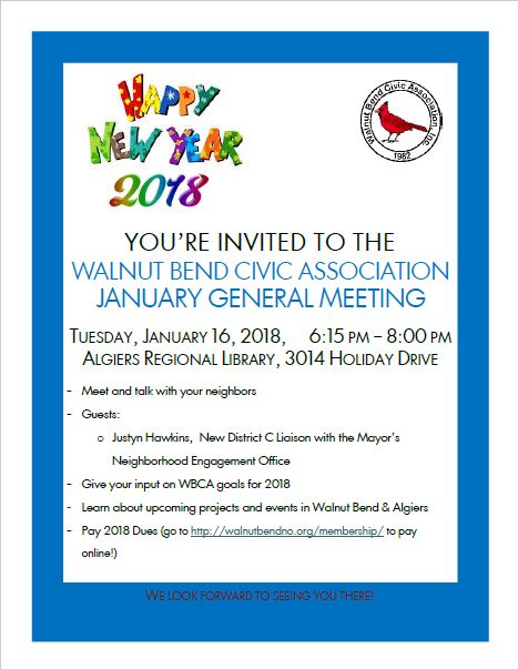 January 2018 Meeting Flyer