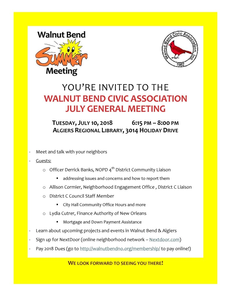 July 2018 Meeting Flyer