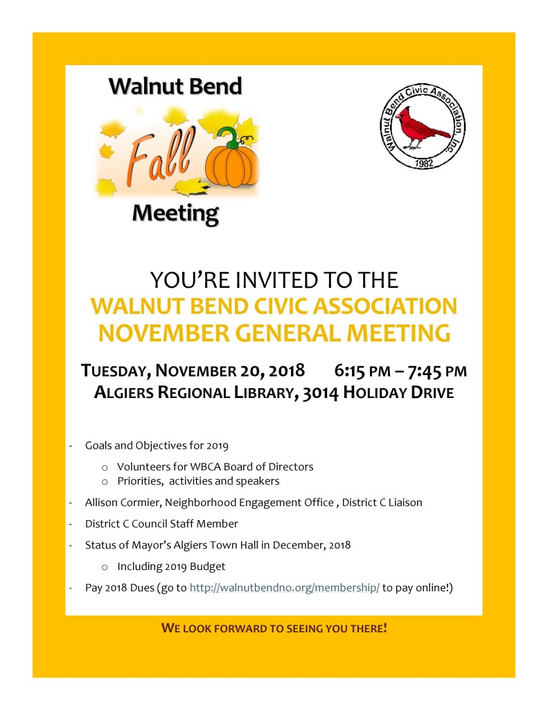 November 2018 Meeting Flyer