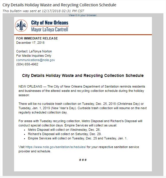 City Wste and Recycling Schedule 12-2018