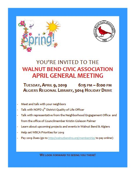 April 2019 Meeting Flyer