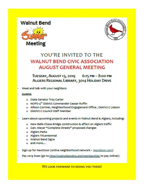August 2019 Meeting Flyer
